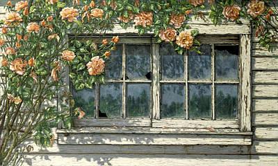 Painting - Peace Climbing Rose by Janet  Kruskamp