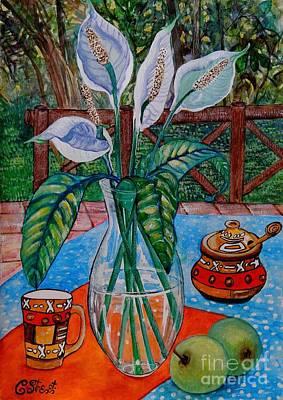 Peace Lilies On The Patio Art Print by Caroline Street