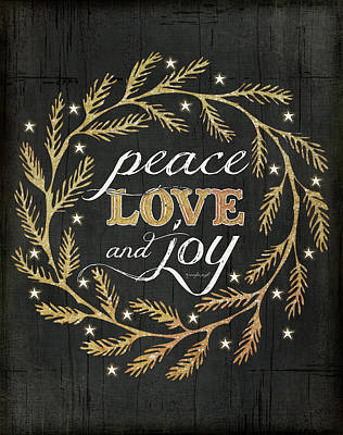 Holiday Painting - Peace Love & Joy by Jennifer Pugh