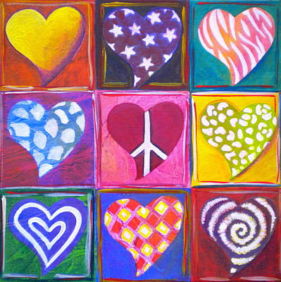 Zebra Patterns Painting - Peace Love And Heart Art by Debi Starr