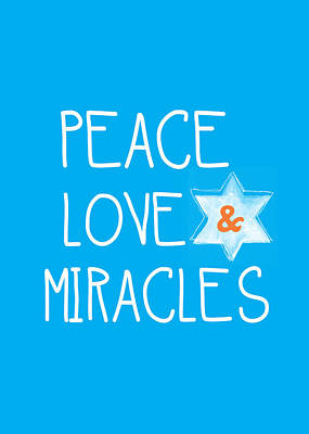 Miracle Painting - Peace Love And Miracles With Star Of David by Linda Woods
