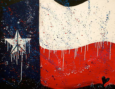 Fireworks Painting - Peace Love And Texas by Debi Starr