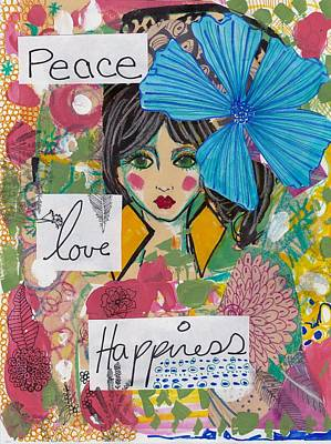 Abstract Collage Mixed Media - Peace Love Happiness by Rosalina Bojadschijew