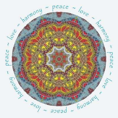 Photograph - Peace Love Harmony Mandala by Beth Sawickie