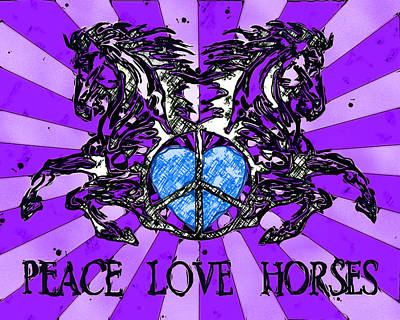 Royalty-Free and Rights-Managed Images - Peace Love Horses by David G Paul