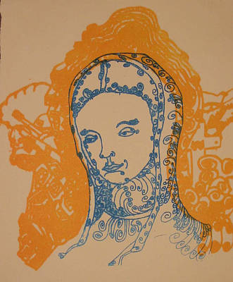 Linoleum Drawing - Peace Of Madonna by Stephen Wiggins
