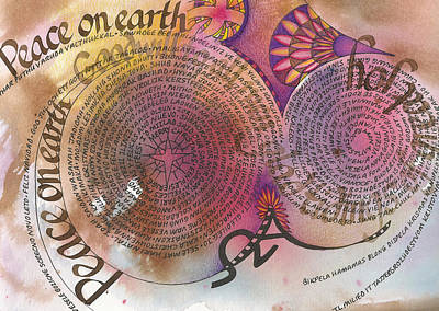 Language Mixed Media - Peace On Earth by Amanda Patrick