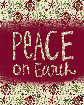 Christmas Decorations Painting - Peace On Earth by Katie Doucette