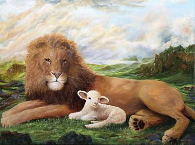 Lion And Lamb Painting - Peace by Robert Wright