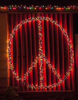 World Peace Photograph - Peace Sign Christmas Lights by Garry Gay