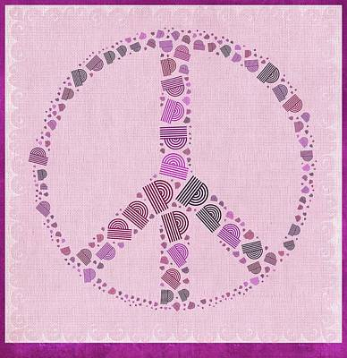 Purple Digital Art - Peace Symbol Design - 42ct2b by Variance Collections