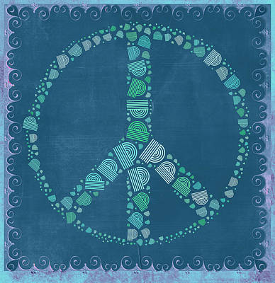 Signed Digital Art - Peace Symbol Design - Tq19at02 by Variance Collections