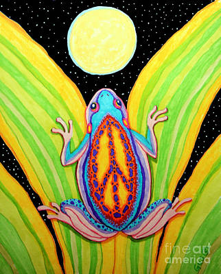 Full Moon Drawing - Peacefrog Full Moon by Nick Gustafson