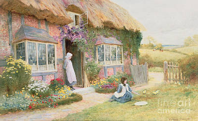 Charming Cottage Painting - Peaceful Afternoon by Arthur Claude Strachan