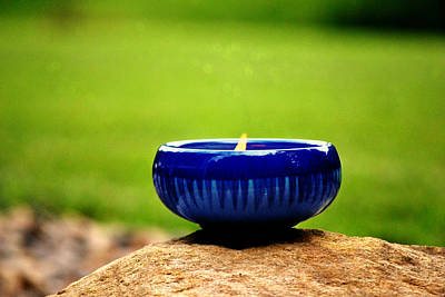 Candle Stand Photograph - Peaceful Blue  by Chastity Hoff