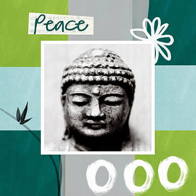 Bamboo Painting - Peaceful Buddha- Zen Art by Linda Woods