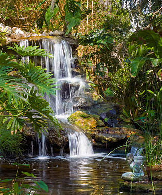 Photograph - Peaceful Garden Waterfall by Ginger Wakem
