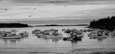 Photograph - Peaceful Harbor In Black And White by Paul Mangold