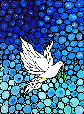 Spring Branch Painting - Peaceful Journey - White Dove Peace Art by Sharon Cummings