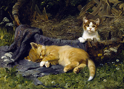 Julius Painting - Peaceful Kittens by Julius Adam