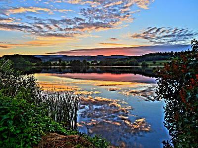 Peaceful Lake With Sunset Art Print