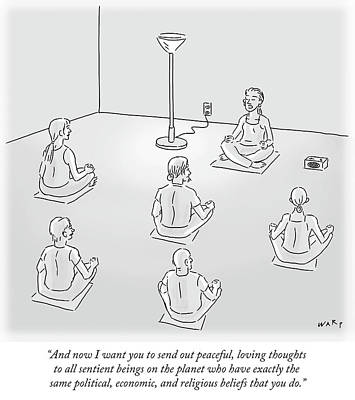 Instructors Drawing - Peaceful Loving Thoughts To All Sentient Beings by Kim Warp