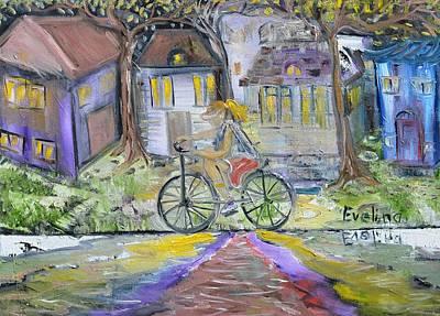 Girl On Bike Painting - Peaceful Mood by Evelina Popilian