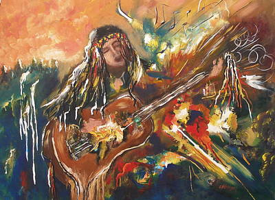 Painting - Peaceful Musician by Miroslaw  Chelchowski