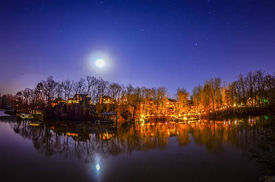 Classic Golf - Peaceful Night View Over The Lake With Moon by Alex Grichenko
