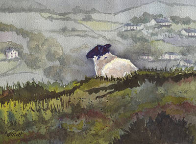 Sheep Painting - Peaceful Overlook by Marsha Elliott