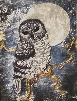Metal Embossing Painting - Peaceful Owl by Arlene Delahenty