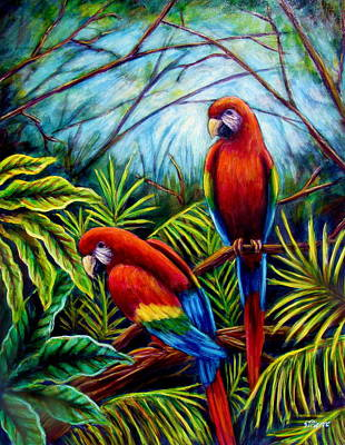 Painting - Peaceful Parrots by Sebastian Pierre