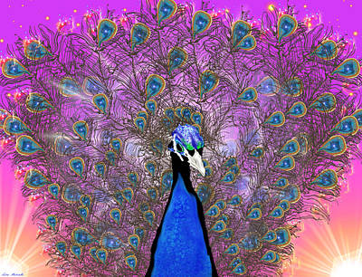 Digital Art - Peaceful Peacock by Lora Mercado