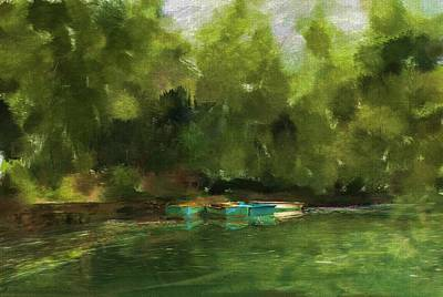 Rowboat Digital Art - Peaceful Pond Painterly Version by Carla Parris