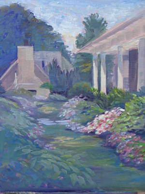 Peaceful Portico Art Print by Judy Fischer Walton