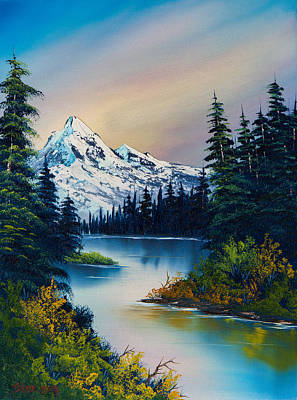 Sawtooth Mountain Art Painting - Tranquil Reflections by C Steele