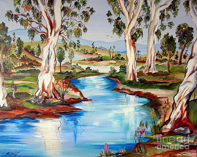 Painting - Peaceful River In The Australian Outback by Roberto Gagliardi