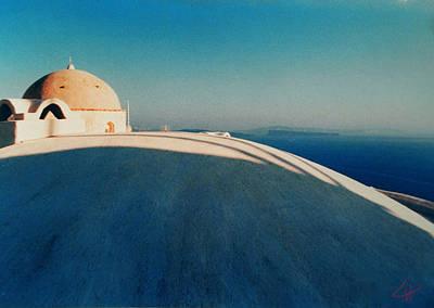 Peaceful Santorini Meditation Art Print by Colette V Hera  Guggenheim
