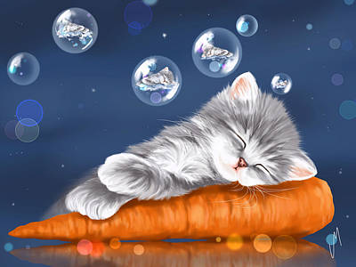 Carrot Painting - Peaceful Sleep by Veronica Minozzi