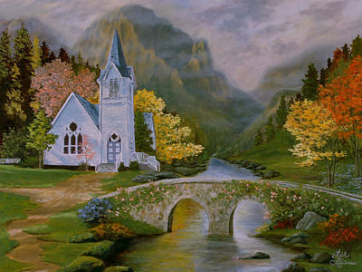 Art Print featuring the painting Peaceful Stream by Rick Fitzsimons