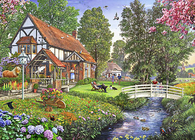 Gosling Painting - Peaceful Sunday English Version by Steve Crisp