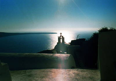 Art Print featuring the photograph Peaceful Sunset Santorini Island Greece by Colette V Hera  Guggenheim