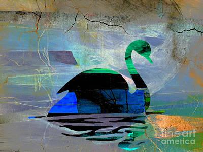 Bird Mixed Media - Peaceful Swan by Marvin Blaine