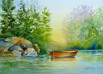 Painting - Peaceful Water by Arlys Hefty