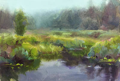 Alaska Scene Painting - Peaceful Waters Impressionistic Landscape  by Karen Whitworth