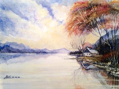 Painting - Peacefull Lake Sunset by Alban Dizdari
