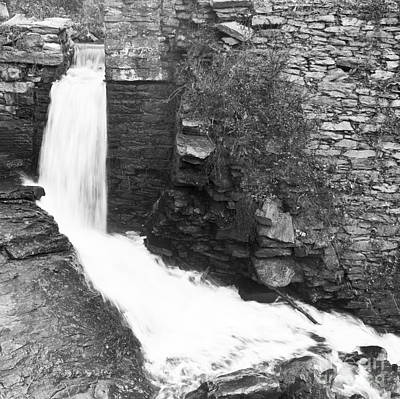 Photograph - Peacefully Calm Waterfall Black And White by Michael Waters
