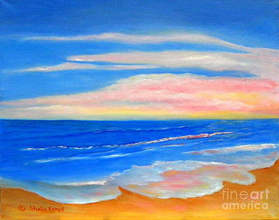 Art Print featuring the painting Peacefully Pink - Pink Seascapes by Shelia Kempf