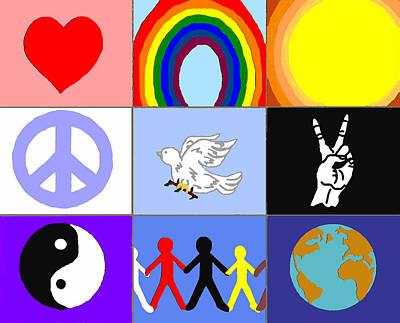 Conscious Mixed Media - peaceloveunity Mosaic by Pharris Art