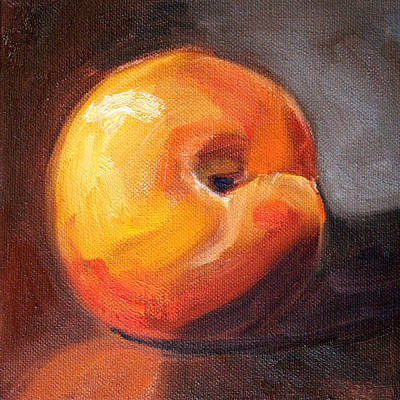 Interior Still Life Painting - Peach 2 by Nancy Merkle